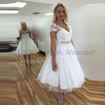 ウェディングドレス ラインVネックレースオーガンザビーズの短いウェディングドレスブライダルガウンキャップスリーブ  A Line