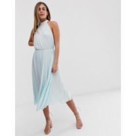 エイソス レディース ワンピース トップス ASOS DESIGN Halter Pleated Waisted Midi Dress Mint