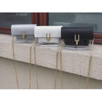 ハーフクリアショルダーバッグ チェーンバッグ ミニバッグ 韓国ファッション レディース ショルダーバッグ クリアバッグ PVC バッグ