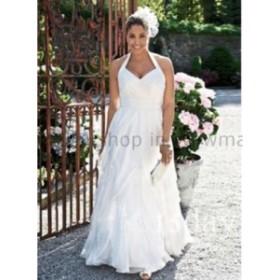 ウェディングドレス ホルタープラスサイズシフォンブライダルガウンビーチウェディングドレス安いホワイトカスタムサイズ  Halter