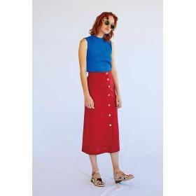 【公式/フリーズマート】麻混フロントボタンロングスカート/女性/スカート/レッド/サイズ:FR/(表生地)ポリエステル 33% レーヨン 32% 麻 18% コットン 15% ナイロン 2%(裏生地)ポリエステル 100%