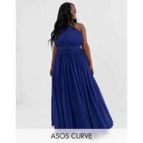 エイソス レディース ワンピース トップス ASOS DESIGN Curve tulle one shoulder maxi dress Navy