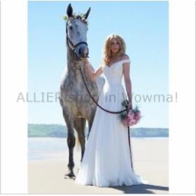 ウェディングドレス エレガントオフショルダーアイボリーホワイトシフォンビーチのウェディングドレスブライダルガウン  Ele