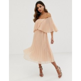 エイソス レディース ワンピース トップス ASOS DESIGN pleated bandeau midi dress with double layer Soft blush