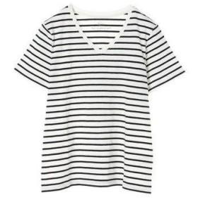 イーハイフンワールドギャラリー E hyphen world gallery ボーダーVネックTシャツ (Off White)
