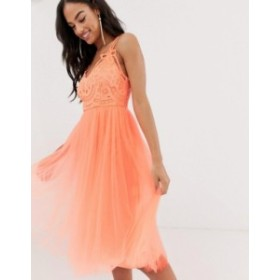 エイソス レディース ワンピース トップス ASOS DESIGN Premium lace top tulle cami midi dress Neon peach