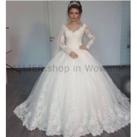 ウェディングドレス ヴィンテージホワイト/アイボリーのレースの長袖Vネックの花嫁衣装のカスタムのウェディングドレス  Vintag