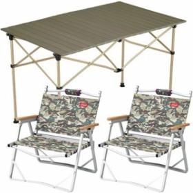 コールマン(Coleman) キャンプ イージーロール 2ステージテーブル/110 オリーブ & コンパクトフォールディングチェア カモフラージュ