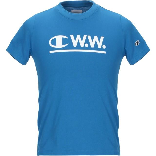 《9/20まで! 限定セール開催中》CHAMPION x WOOD WOOD メンズ T シャツ アジュールブルー XS コットン 100%