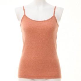 インナー 肌着 レディース キャミソール ベアトップ 綿100%杢カラーキャミソール 「オレンジ」