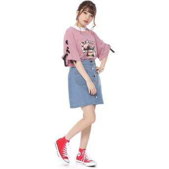 Tシャツ - SPINNS 袖レースアップフォトTシャツ