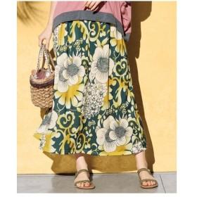 スカート ロング丈 マキシ丈 大きいサイズ レディース 花柄 カットソー マキシ ワンピース L〜10L ニッセン