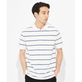 BACK NUMBER 汗染み防止鹿の子ポロシャツ メンズ ホワイト*ブルー