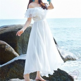リゾートワンピースオフショルダーシフォンワンピ肩出しロング丈白ホワイト春夏トップス海ビーチ夏服リゾートスタイルかわいい