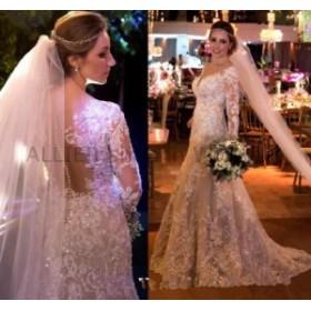 ウェディングドレス マーメイドのウェディングドレス薄手のセクシーなVネックシャイニービーズスパンコール高級ブライダルドレス  Merma