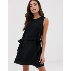 エイソス レディース ワンピース トップス ASOS DESIGN sleeveless chuck on ruched waist mini dresss Black