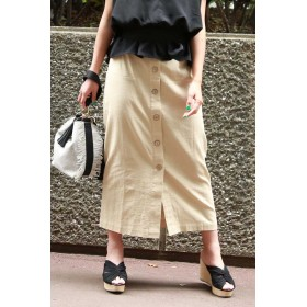【公式/フリーズマート】麻混フロントボタンロングスカート/女性/スカート/ベージュ/サイズ:FR/(表生地)ポリエステル 33% レーヨン 32% 麻 18% コットン 15% ナイロン 2%(裏生地)ポリエステル 100%