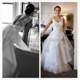 ウェディングドレス ヴィンテージAラインレースストラップフリルオーガンザウェディングドレスプラスサイズブライダルドレス  Vint