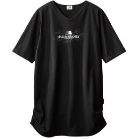 綿100%サイドギャザーVネックカットソーチュニック(シルビア&シルベスター)(オトナスマイル) (大きいサイズレディース)Tシャツ・カットソー