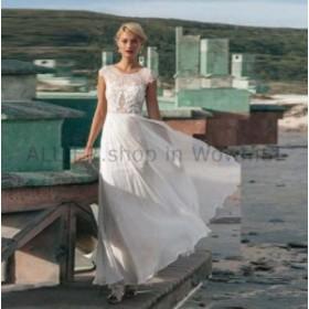 ウェディングドレス シフォンビーチウェディングドレスキャップスリーブレースの花嫁衣装サイズ2 4 6 8 10 1