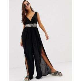 リバーアイランド レディース ワンピース トップス River Island beach jumpsuit with embellished waistband in black Black