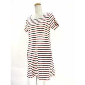 【中古】ショコラフィネローブ chocol raffine robe ワンピース 半袖 ミニ ショート ポケット ボーダー 白 赤 紺