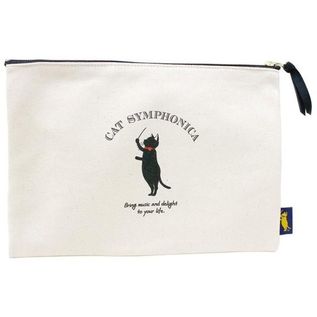 CAT SYMPHONICA(キャットシンフォニカ) キャンバスポーチ ラージ CSマーク ブラック 6012