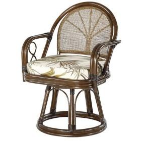 籐 回転座椅子 チェア ミドルタイプ クッション付 ラタン製 籐家具 座面高40cm ( ラタン 籐家具 籐椅子 ラタンチェア )