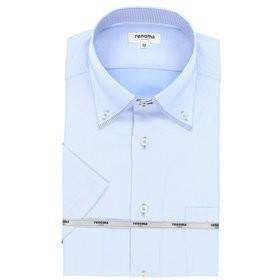 【TAKA-Q:トップス】形態安定レギュラーフィットドゥエボットー二ストッパーボタンダウン半袖ビジネスドレスシャツ