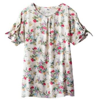 レーヨン100%花柄ブラウス(オトナスマイル) (大きいサイズレディース) plus size shirts
