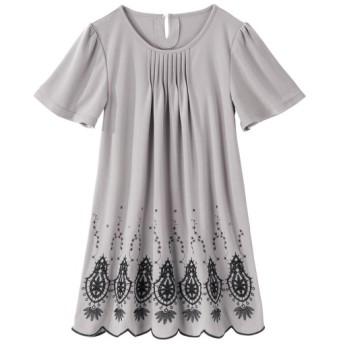 裾刺しゅうカットソーチュニック(オトナスマイル) (大きいサイズレディース)チュニック,plus size