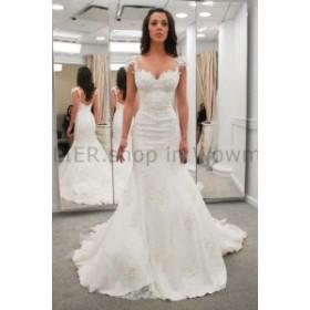 ウェディングドレス ホワイトキャップスリーブマーメイドレースサテンのウェディングドレスブライダルガウンサイズ6 8 10 12