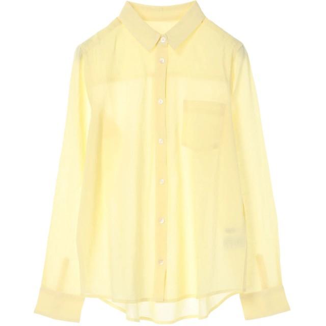 グリーンパークス Green Parks nougatine ボイル長袖レギュラーシャツ (Yellow)