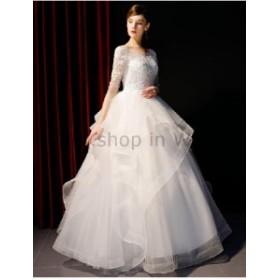 ウェディングドレス エレガントなボールガウンのウェディングドレス半袖フリルレースチュールブライダルガウン  Elegant Bal
