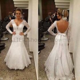 ウェディングドレス マーメイドVネック長袖のウェディングドレスオープンバックブライダルガウンオープンバック  Mermaid V