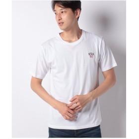 WEGO WEGO/USAワンポイント刺繍Tシャツ(ホワイト)【返品不可商品】