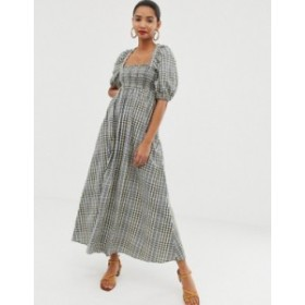 エイソス レディース ワンピース トップス ASOS DESIGN shirred bustier maxi dress in seersucker check print Check