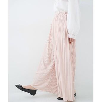 ハコ パンツ派さんのデート着 ふんわり華やかなランダムプリーツパンツ レディース ピンク S 【haco!】