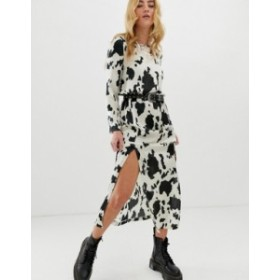 エイソス レディース ワンピース トップス ASOS DESIGN maxi dress with cowl back in cow animal print Cow animal print