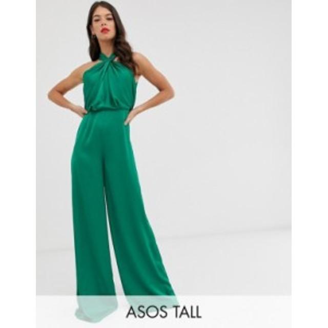 エイソス レディース ワンピース トップス ASOS EDITION Tall ruched halter neck jumpsuit Green