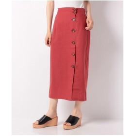 WEGO WEGO/リネンブレンドボタンナロースカート(ダークオレンジ)【返品不可商品】