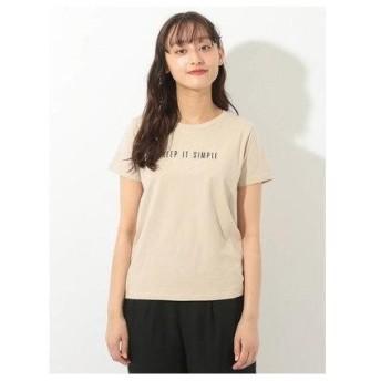イーハイフンワールドギャラリー E hyphen world gallery シンプルロゴプリントTシャツ (Beige)