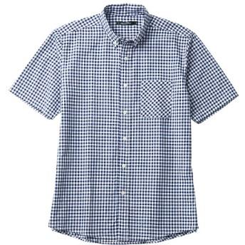 45%OFF【メンズ】 綿100%先染めオックスフォード素材の半袖シャツ - セシール ■カラー:ギンガムチェック ■サイズ:L,7L,M