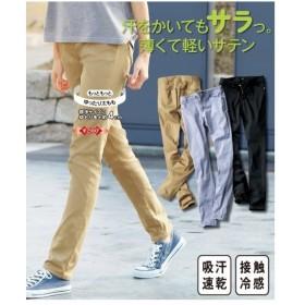 パンツ うすくて軽いストレッチサテンストレートパンツ(もっともっとゆったりヒップ)(股下73cm) L/LL