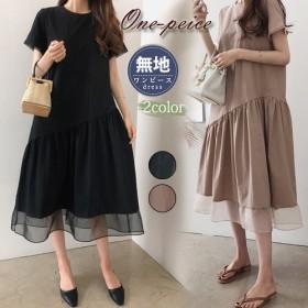 大人気の新作★韓国ファッションレディースワンピース、棉/麻/半袖ロングワンピース