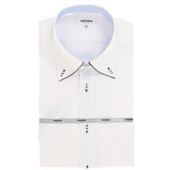 【TAKA-Q:トップス】形態安定レギュラーフィットドゥエボットー二ボタンダウンパイピング半袖ビジネスドレスシャツ