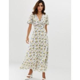 エイソス レディース ワンピース トップス ASOS DESIGN lace insert button through maxi tea dress in ditsy floral print Floral print