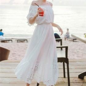 パンチングリゾートワンピオフショルダー白ホワイトマキシレディースおしゃれきれいめ夏服リゾートスタイルワンピースロング可愛い