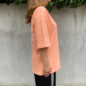 Tシャツ - SHEENA カシュクール背あきプリントロゴTシャツ 春 夏 Tシャツ カットソー トップス プリント ロゴ BIG ルーズ オーバー ストリート ダンス K
