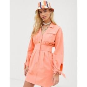 エイソス レディース ワンピース トップス ASOS DESIGN washed utility mini shirt dress Neon peach